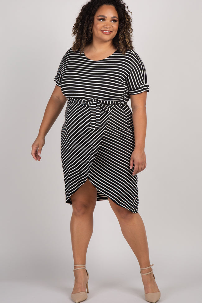 Black Striped Sash Tie Maternity Plus Wrap Dress