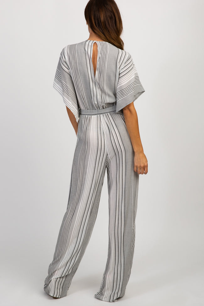 White Striped Knot Front Wide Leg Jumpsuit