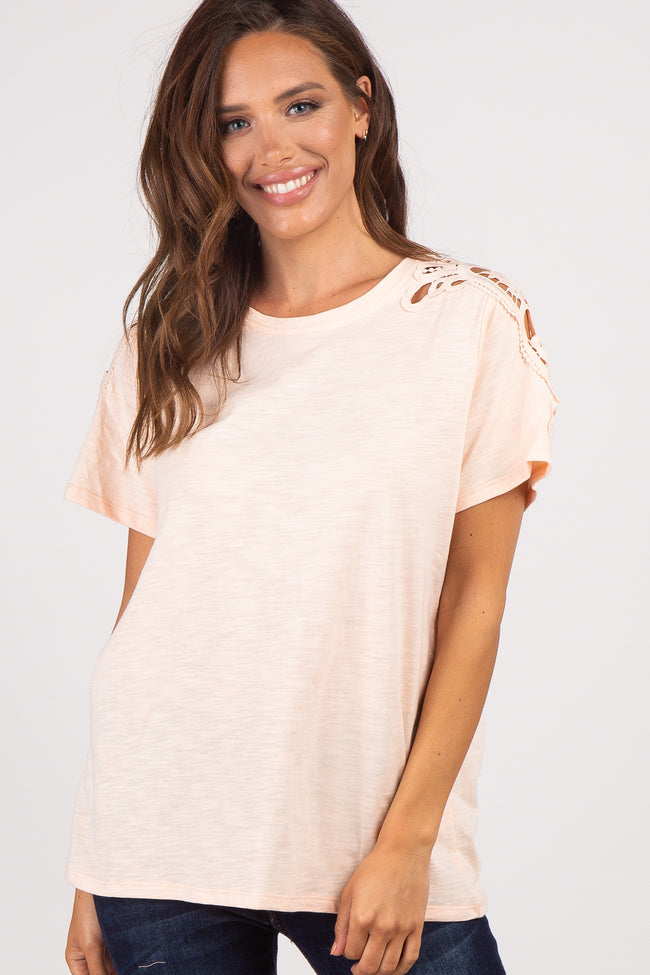 Peach Crochet Sleeve Top