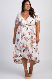 Ivory Watercolor Floral Hi-Low Plus Wrap Dress