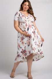 Ivory Watercolor Floral Hi-Low Plus Maternity Wrap Dress