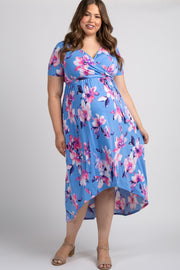 Light Blue Watercolor Floral Hi-Low Plus Maternity Wrap Dress