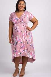 PinkBlush Mauve Watercolor Floral Hi-Low Plus Maternity Wrap Dress