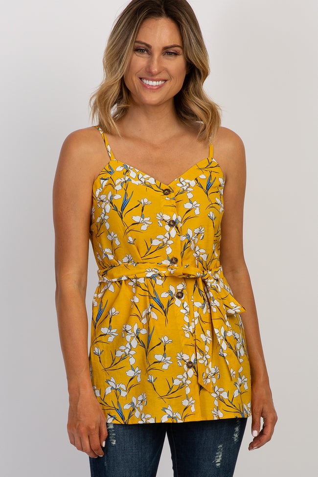 Yellow Floral Sweetheart Tie Top