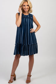 Navy Printed Sleeveless Ruffle Trim Swing Dress
