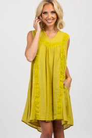Yellow Crochet Sleeveless Dress