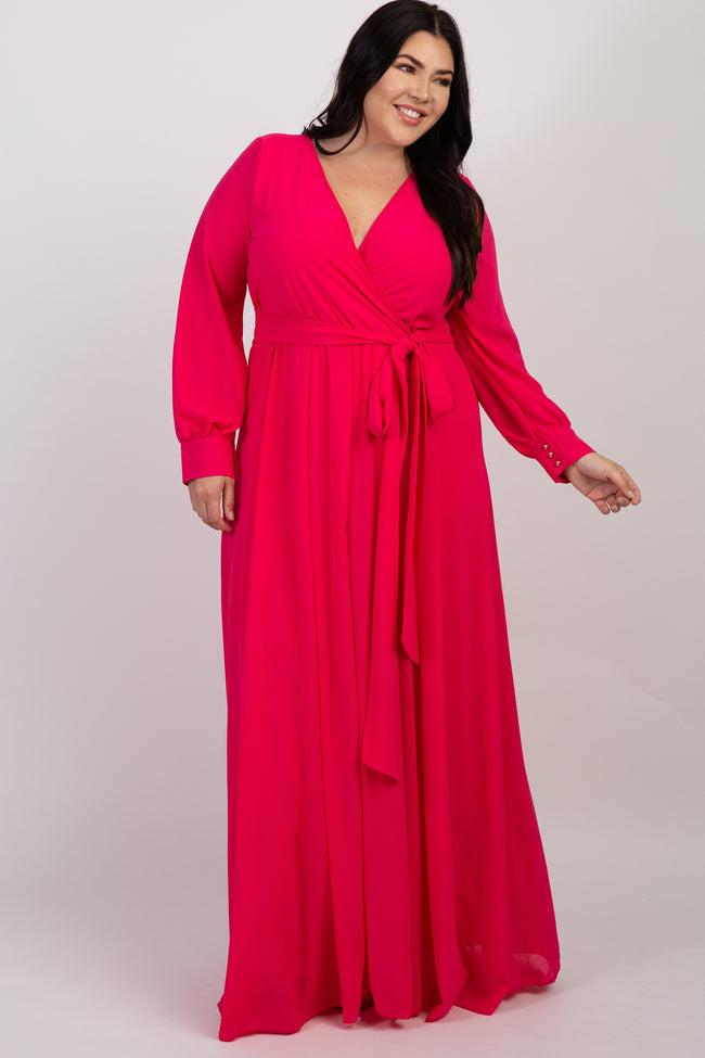 Magenta Chiffon Long Sleeve Pleated Plus Maxi Dress