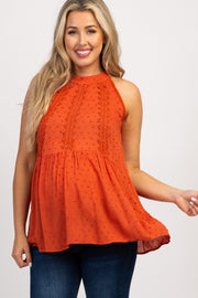 Rust Lace Halter Neck Babydoll Maternity Top
