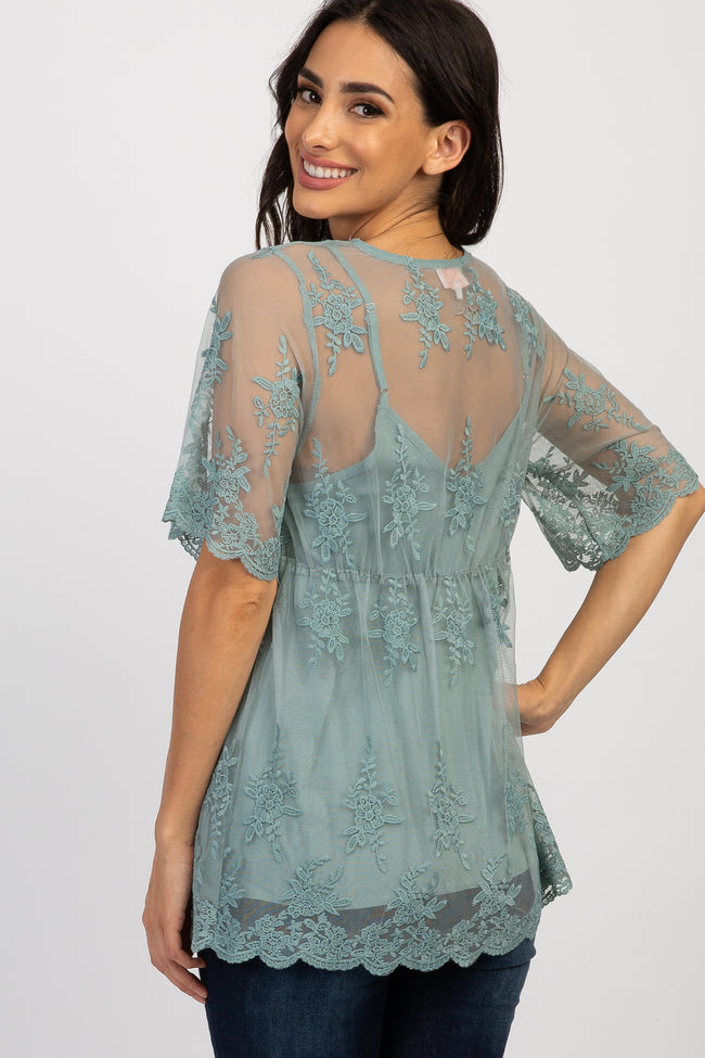 Mint Green Lace Overlay Scalloped Top