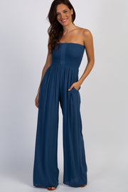 Blue Smocked Strapless Jumpsuit