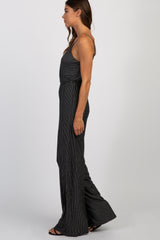 Black Pinstriped Sleeveless Jumpsuit