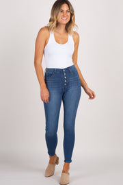 Navy Solid Button Closure High-Rise Skinny Jeans