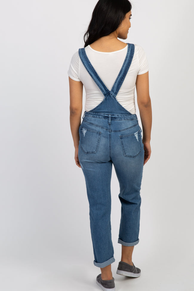 Blue Distressed Denim Maternity Overalls