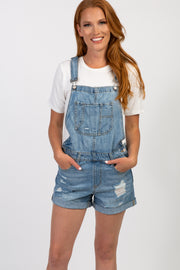 Blue Distressed Denim Overall Shorts