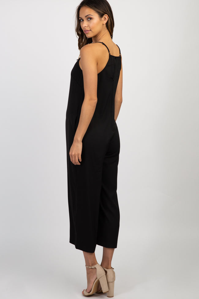 Black Solid Lace Trim Maternity Jumpsuit