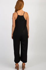 Black Solid Lace Trim Jumpsuit