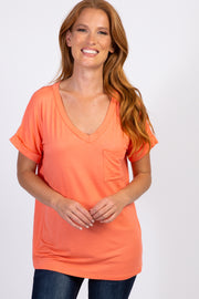 Bright Coral Solid Pocket Top
