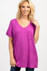 Magenta Solid Pocket Maternity Top