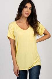 Yellow Solid Pocket Top