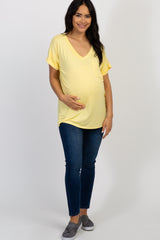 Yellow Solid Pocket Maternity Top