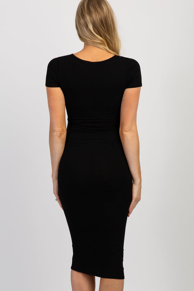 Black Button Front Ribbed Fitted Maternity Midi Dress