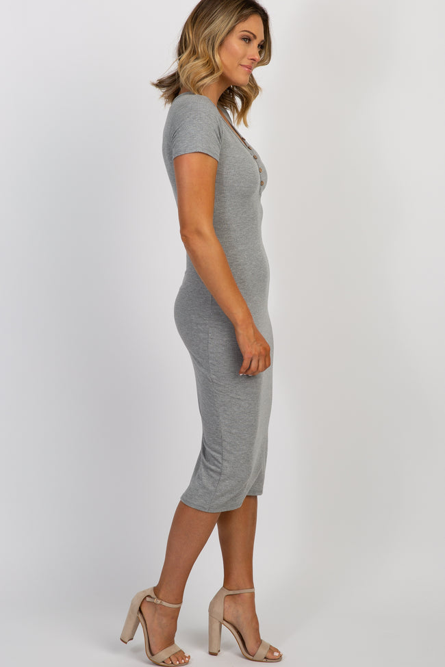 Heather Grey Button Front Ribbed Fitted Midi Dress