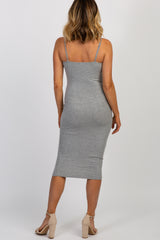 Heather Grey Ribbed Square Neckline Fitted Dress