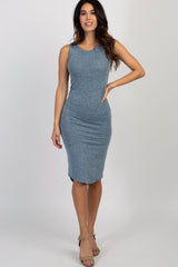 Light Blue Heathered Sleeveless Knit Dress
