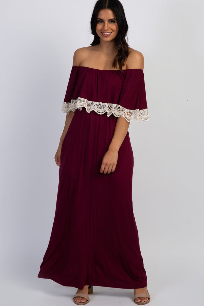 PinkBlush Burgundy Ruffle Crochet Trim Maternity Maxi Dress