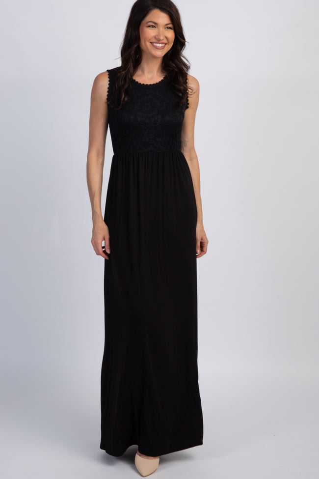 PinkBlush Black Sleeveless Lace Top Maxi Dress