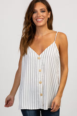 Ivory Pinstriped Button Front Sleeveless Maternity Top