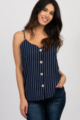 Navy Pinstriped Button Front Sleeveless Maternity Top