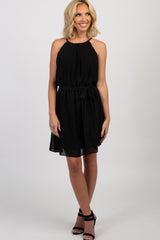 Black Chiffon Scalloped Sash Tie Dress