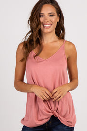 Salmon Solid Knot Front Cami Strap Top