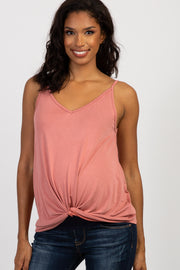 Salmon Solid Knot Front Cami Strap Maternity Top