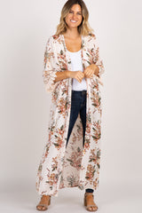 Beige Floral Scalloped Lace Sleeve Long Cover Up