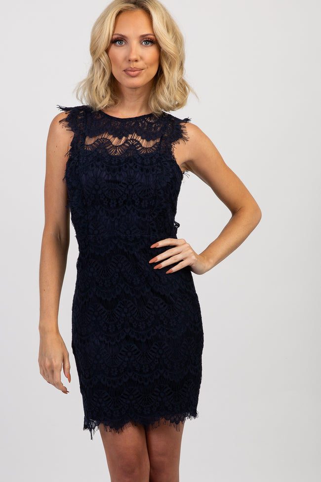Navy Lace Scalloped Open Back Fitted Dress