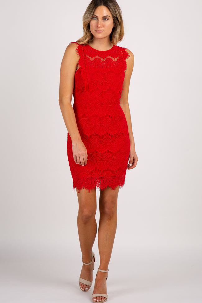 Red Lace Scalloped Open Back Fitted Dress