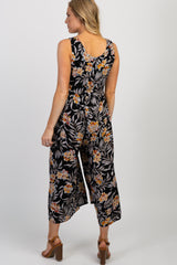 Black Floral Button Front Sleeveless Maternity Jumpsuit