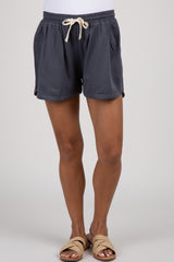 Charcoal Drawstring Maternity Shorts