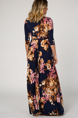 Navy Floral Wrap V-Neck Maxi Dress