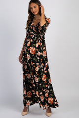 PinkBlush Black Rose Print Wrap V-Neck Maternity Maxi Dress
