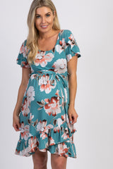 PinkBlush Teal Floral Ruffle Sash Tie Maternity Wrap Dress
