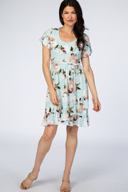 PinkBlush Mint Floral Ruffle Sash Tie Wrap Dress