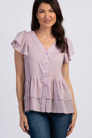 Lavender Ruffle Accent Button Front Blouse