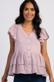Lavender Ruffle Accent Button Front Maternity Blouse