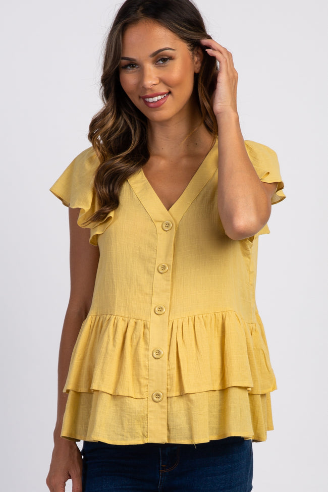 Mustard Ruffle Accent Button Front Maternity Blouse
