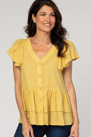 Mustard Ruffle Accent Button Front Blouse