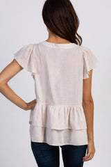 Ivory Ruffle Accent Button Front Blouse