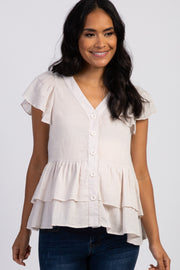 Ivory Ruffle Accent Button Front Maternity Blouse